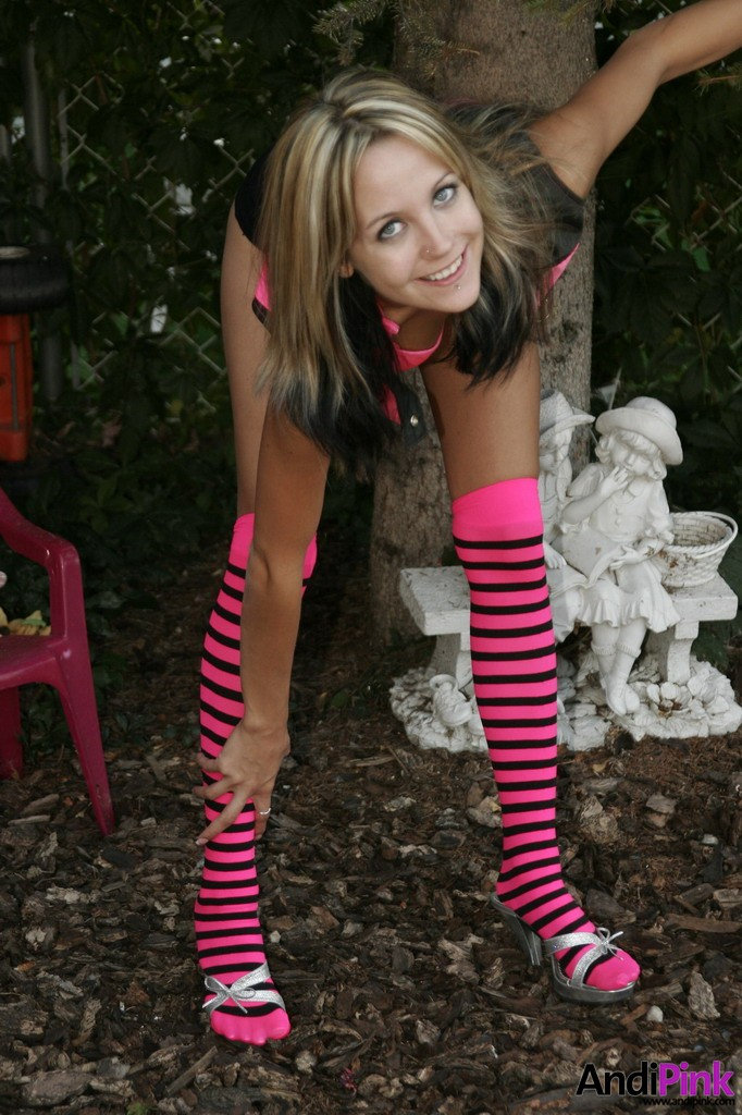 Dare Andi pink in striped socks assured