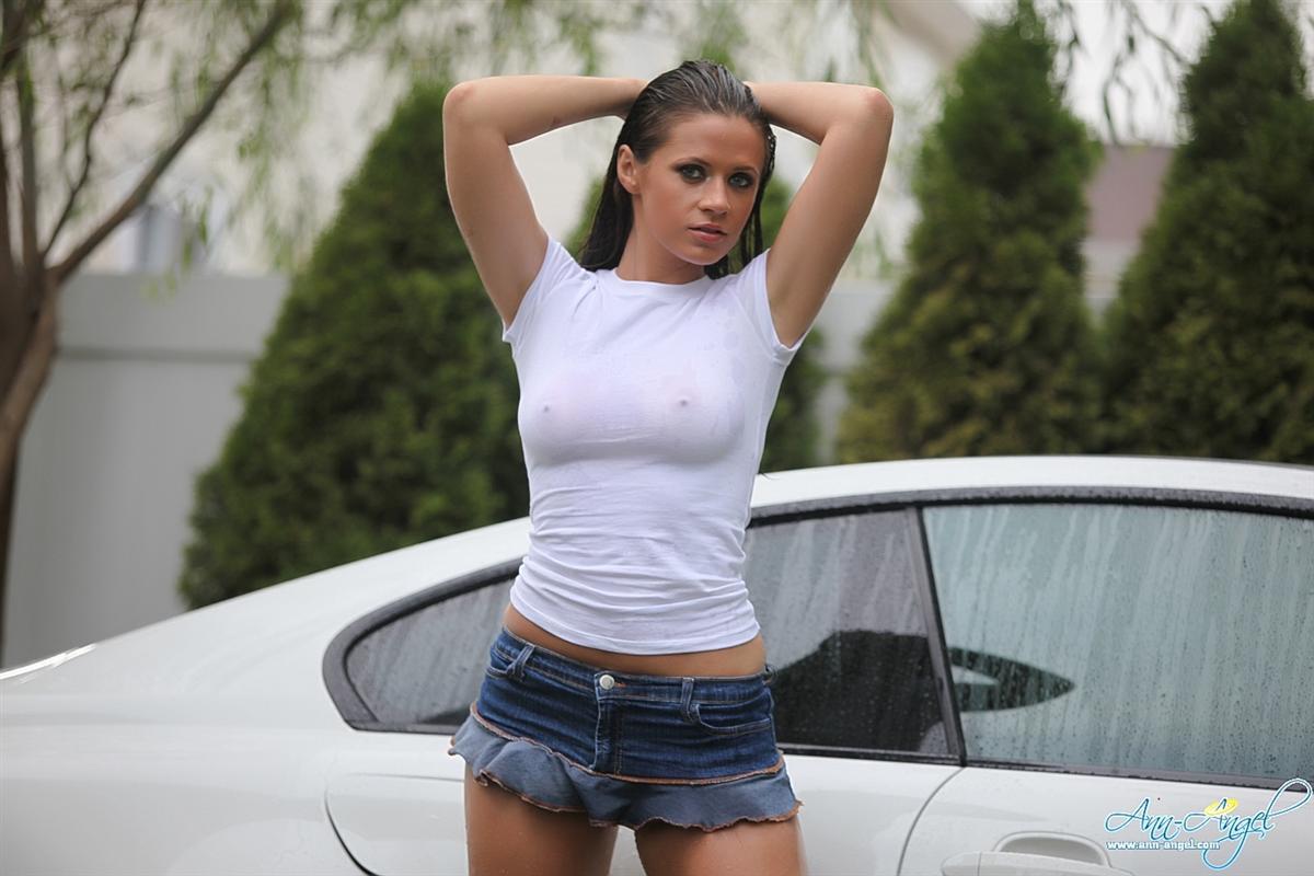 Ann Angel soaking wet washing car - NNConnect.com